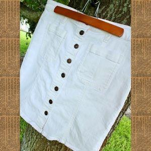 J. Crew White Denim Skirt